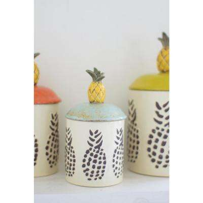 6-Piece Ceramic Pineapple Canisters (Set of 3)