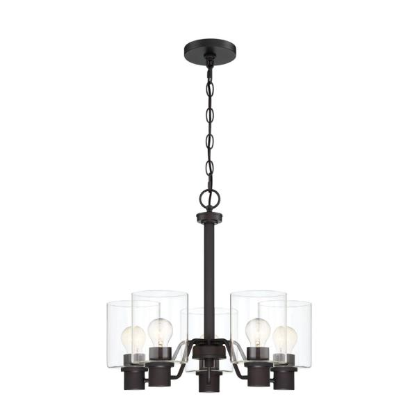 5-Light Satin Bronze Chandelier with Clear Glass Shades