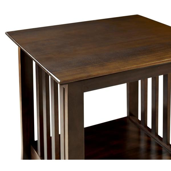 "End Table Mission Style Medium Oak Finish 24/"" Wood Accent Decor Furniture"