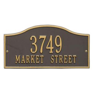 Whitehall Products Rolling Hills Rectangular Bronze/Gold Standard Wall 2-Line Address Plaque by Whitehall Products