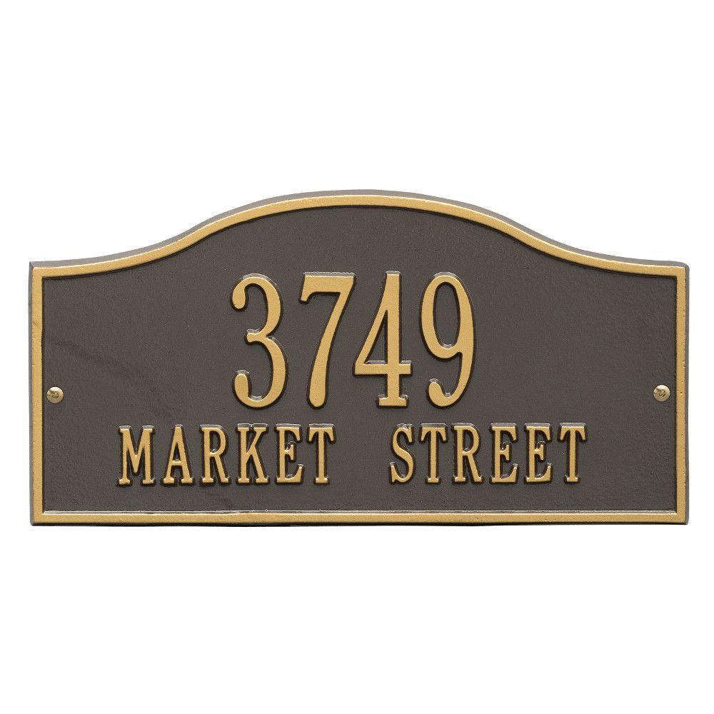 Rolling Hills Rectangular Bronze/Gold Standard Wall 2-Line Address Plaque