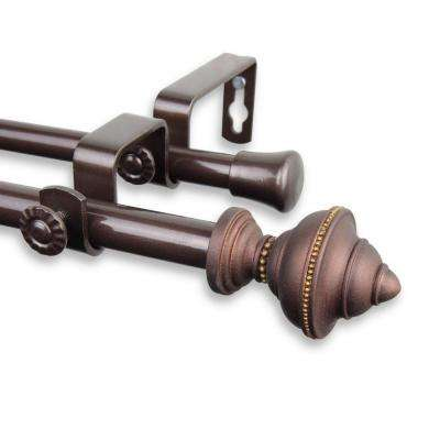 84 in. - 120 in. Telescoping 5/8 in. Double Curtain Rod Kit in Cocoa with Palace Finial
