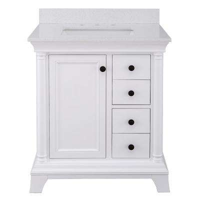 Strousse 31 in. W x 22 in. D Vanity Cabinet in White with Engineered Stone Vanity Top in Ice Diamond with White Sink