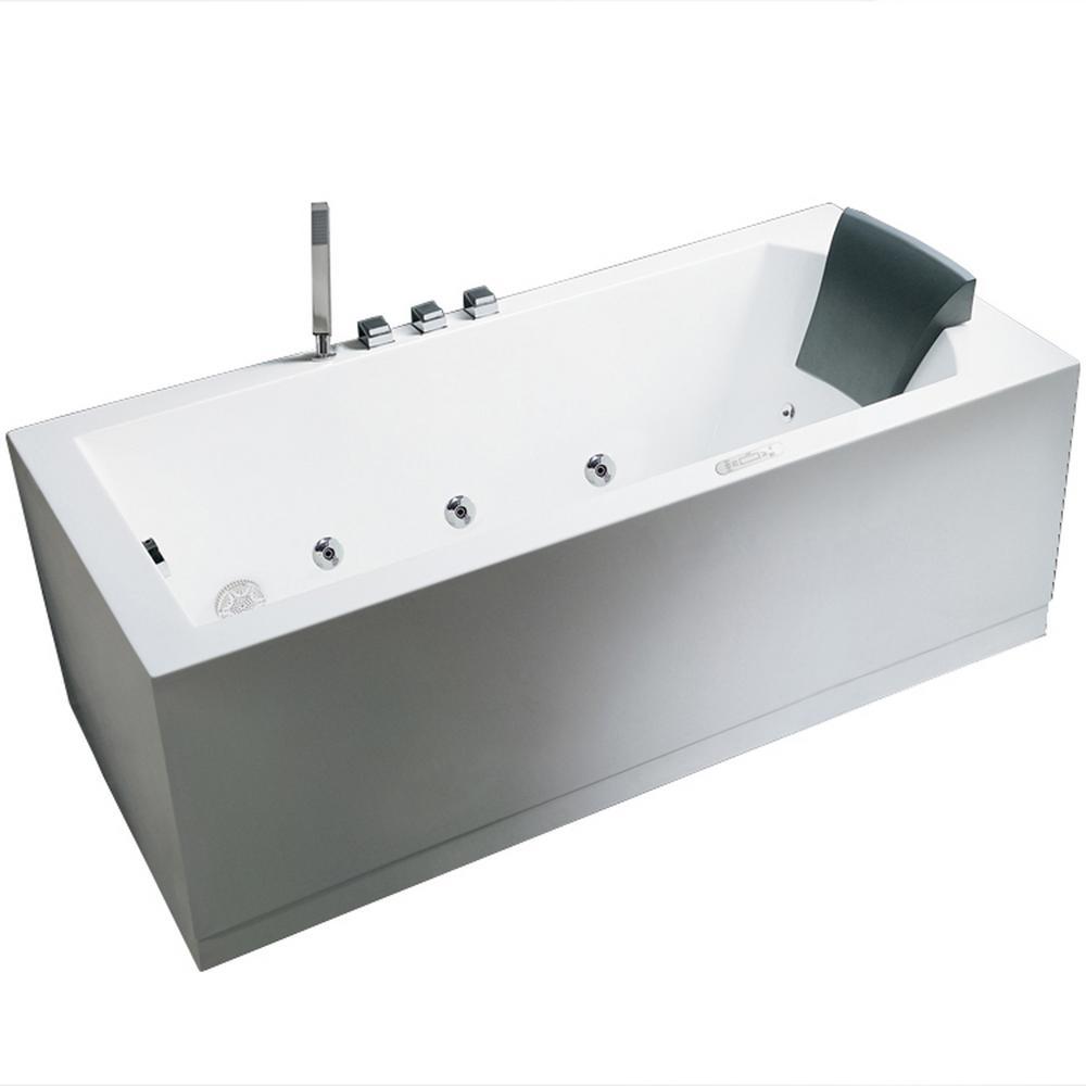 Acrylic Left Drain Flatbottom Whirlpool Bathtub In White
