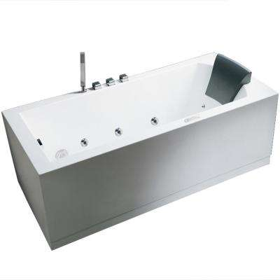 70.5 in. Acrylic Left Drain Flatbottom Whirlpool Bathtub in White