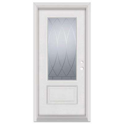 32 in. x 80 in. V-Groove Left-Hand 3/4 Lite Finished Fiberglass Mahogany Woodgrain Prehung Front Door Brickmould