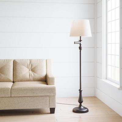 59 in. Oil-Rubbed Bronze Swing-Arm Floor Lamp with Cream Fabric Drum Shade