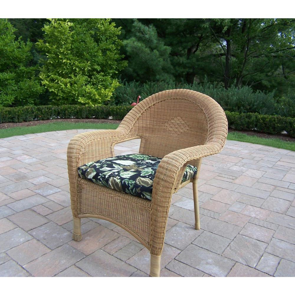 Honey Wicker Outdoor Lounge Chair with Black Floral Cushion