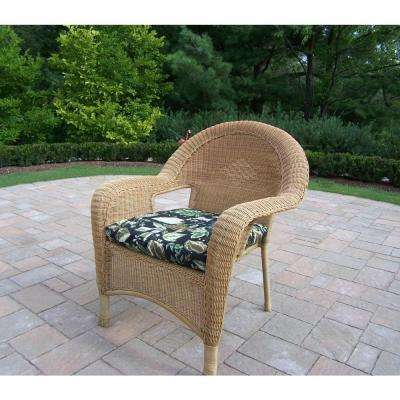 Honey Wicker Outdoor Lounge Chair With Black Fl Cushion