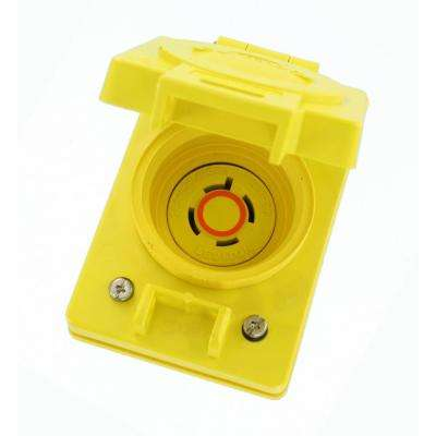 20 Amp 125/250-Volt Single Locking Flush Mounting Outlet Wetguard Flip Lid, Yellow