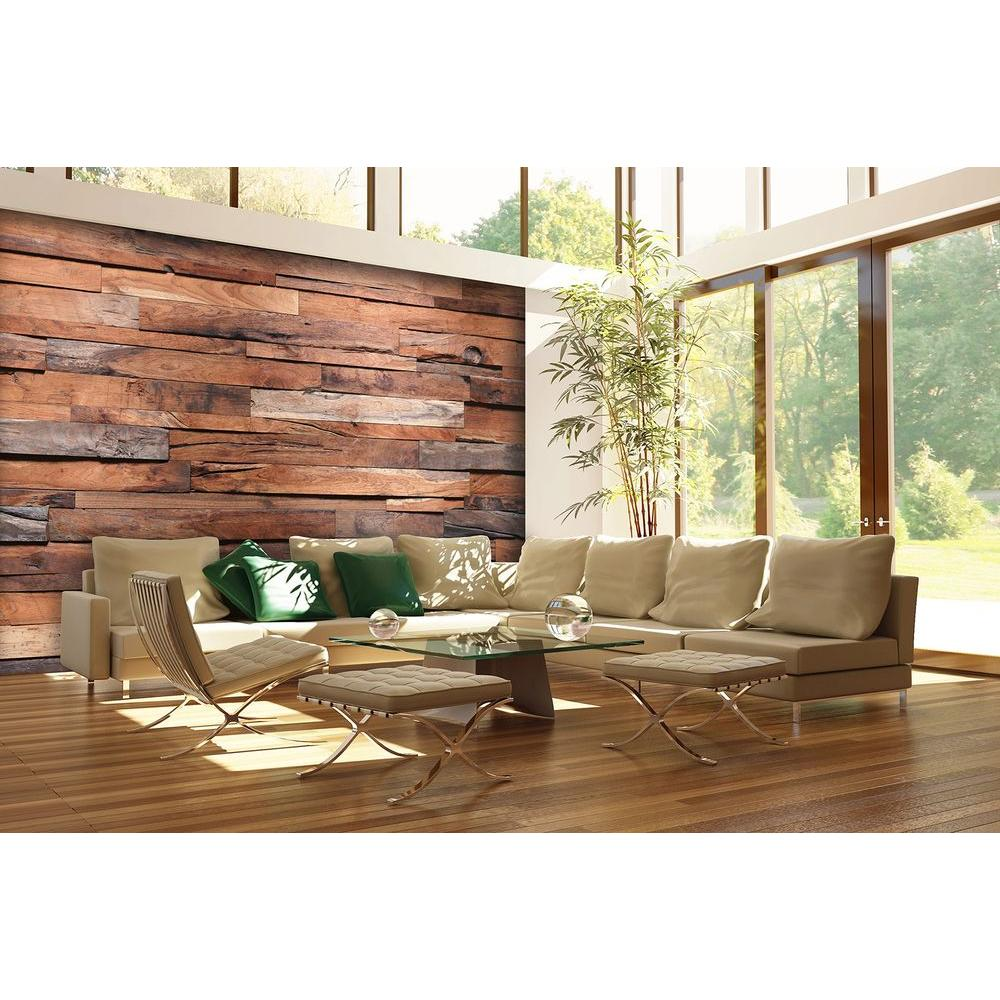 rustic wood wall decor Ideal Decor 100 in. H x 144 in. W Reclaimed Wood Wall Mural DM150  rustic wood wall decor