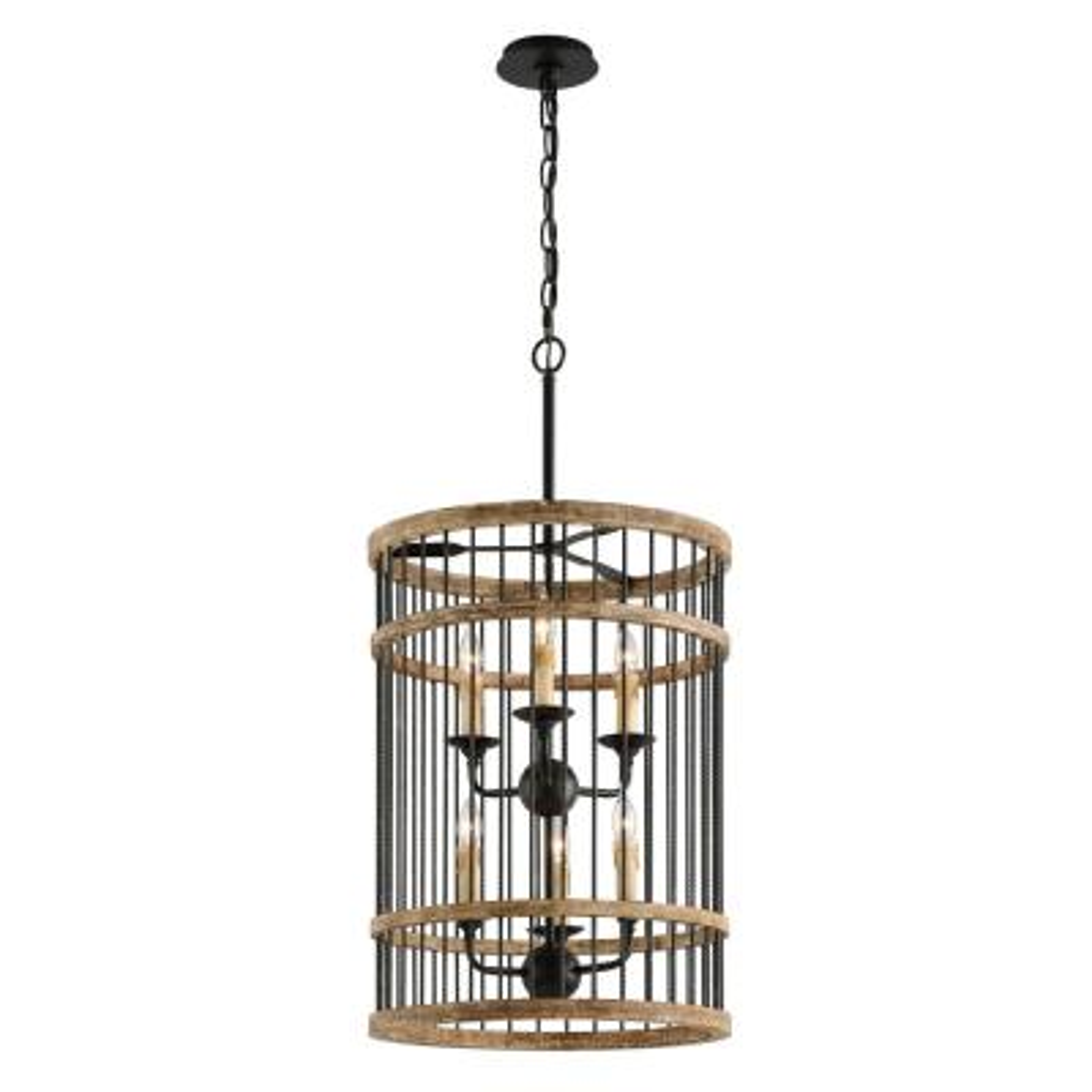 Vineyard 6-Light Rusty Iron with Salvaged Wood Pendant