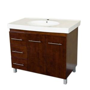 Bellaterra Home Beaumont 39 6 In W X 18 9 In D Single Vanity In Walnut With Ceramic Vanity Top In White With White Basin 203129 W L The Home Depot