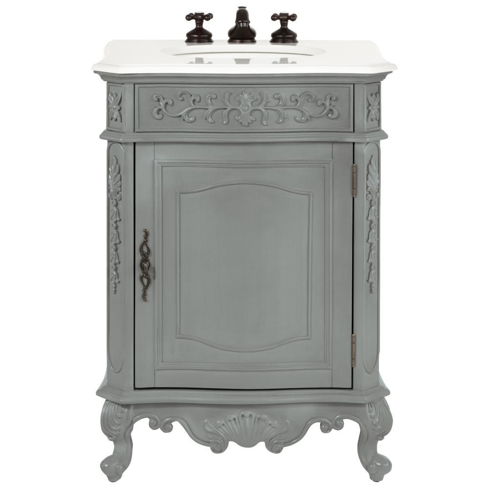 Home Decorators Collection Winslow 26 in. W Vanity in Antique Grey with Marble Vanity Top in White with White Sink
