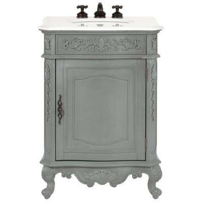 Winslow 26 In. W Vanity In Antique Grey With Marble Vanity Top In White With