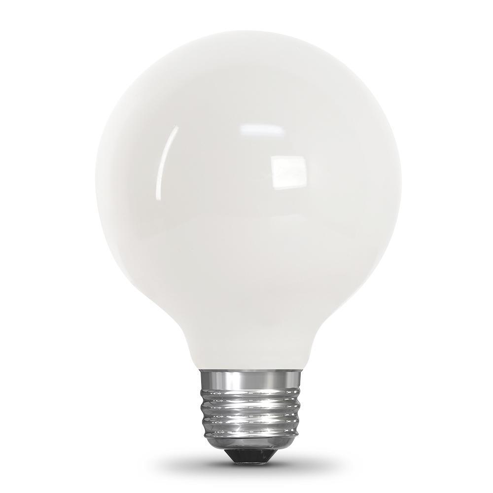 25-Watt Equivalent G25 Dimmable Filament LED 90+ CRI White Glass Light