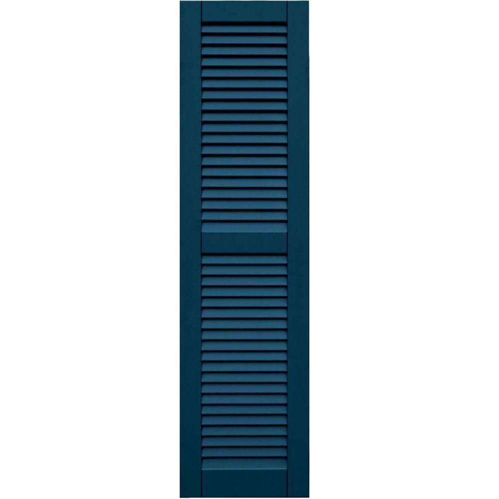 Winworks Wood Composite 15 in. x 58 in. Louvered Shutters Pair #637 Deep Sea Blue