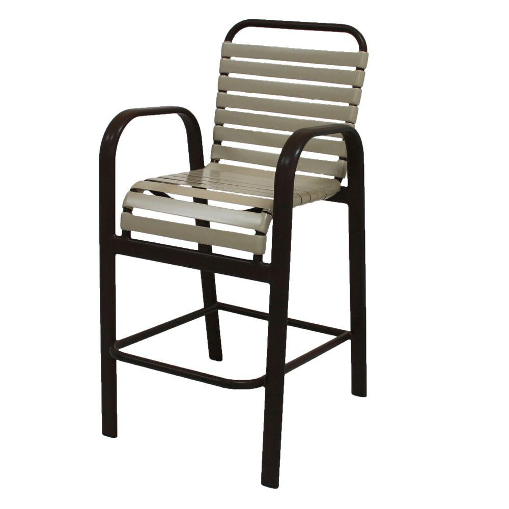 Marco Island Dark Cafe Brown Commercial Grade Aluminum Bar Height Patio  Dining Chair With Putty Vinyl