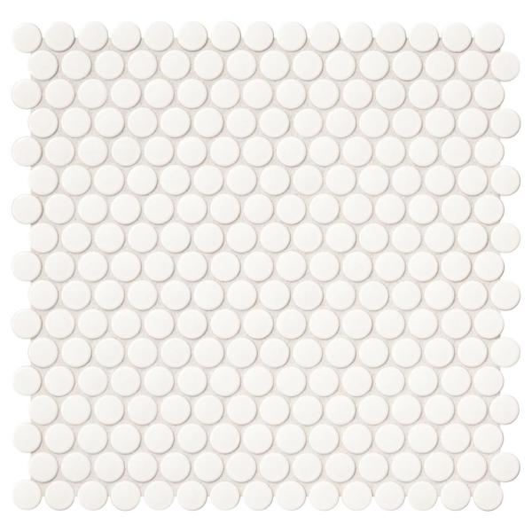Restore 11 in. x 13 in. Glossy White Ceramic Penny Round Mosaic Wall Tile (1.06 sq. ft./Piece)