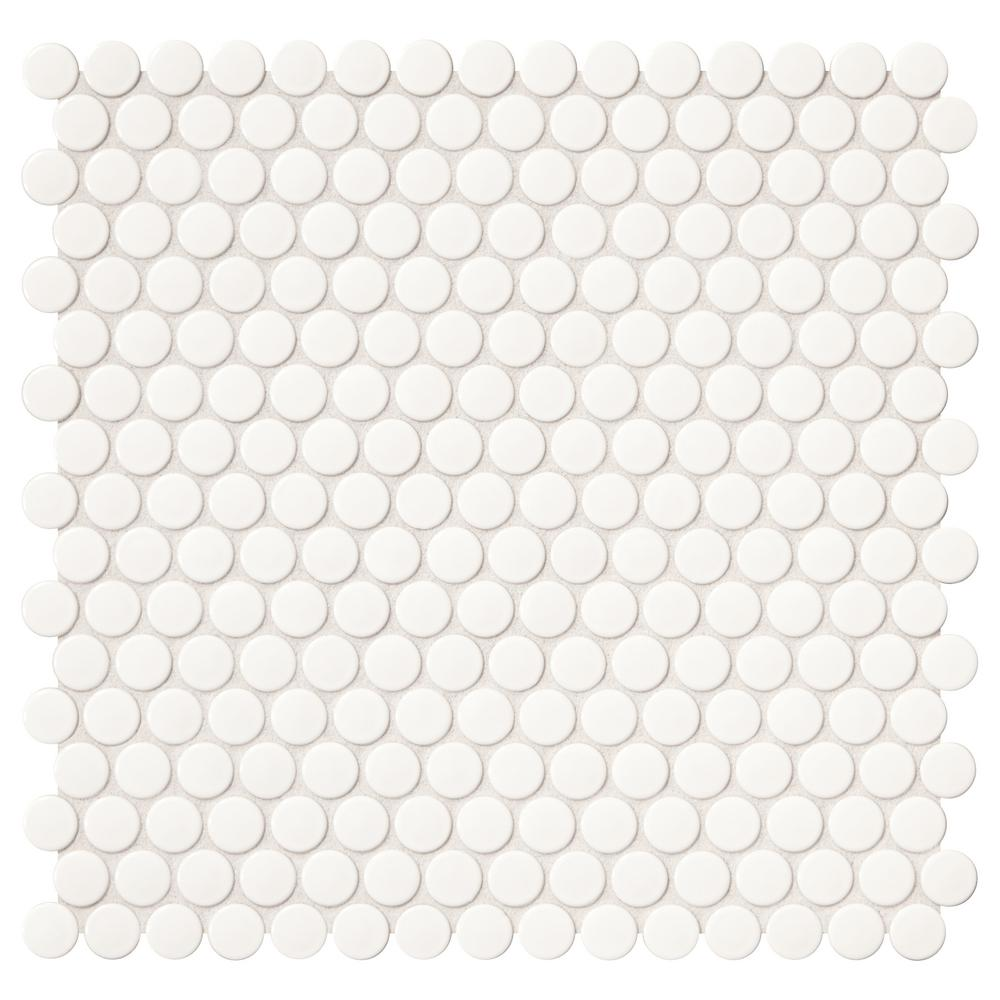 Finesse Glossy White 12 in. x 13 in. x 6.35 mm Porcelain Mosaic Tile