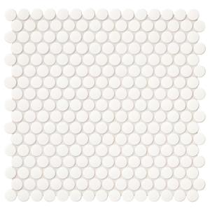 Finesse Glossy White 12 in. x 13 in. x 6.35 mm Porcelain Penny Round Mosaic Wall Tile (1.06 sq. ft. / piece)