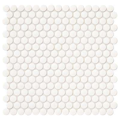 Finesse Glossy White 12 in. x 13 in. x 6.35 mm Porcelain Mosaic Wall Tile (1.06 sq. ft. / piece)