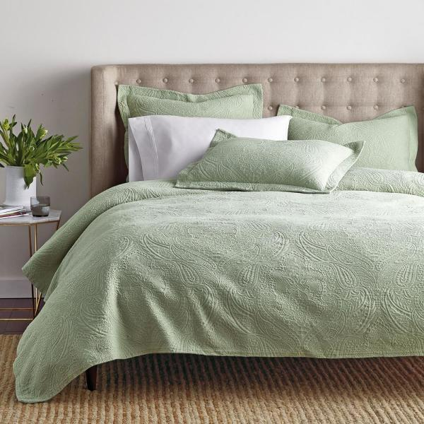 The Company Store Hillcrest Matelasse Sage Twin Coverlet