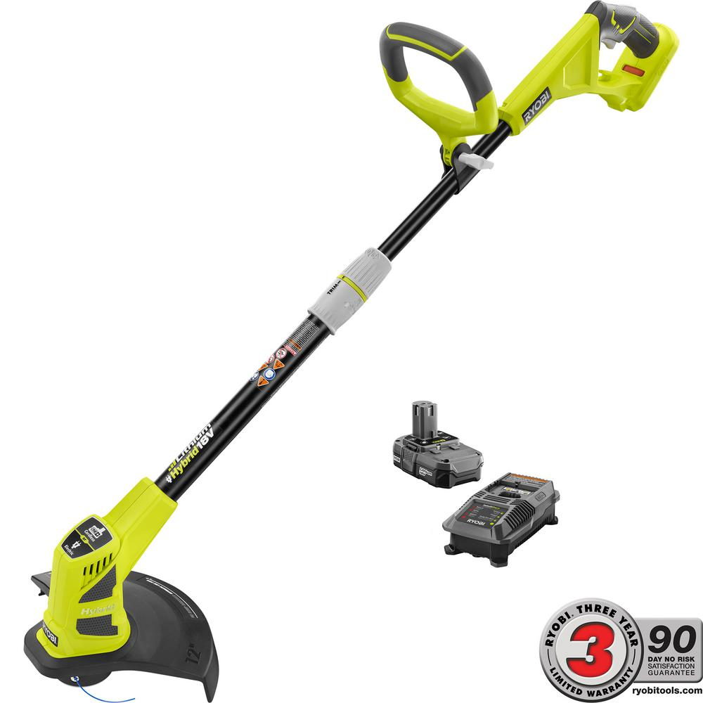RYOBI ONE+ 18-Volt Lithium-Ion Hybrid Electric Cordless String Trimmer/Edger - 1.3 Ah Battery and Charger Included