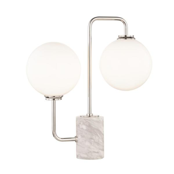 Mia 17.25 in. Polished Nickel LED Table Lamp with Opal Etched Glass