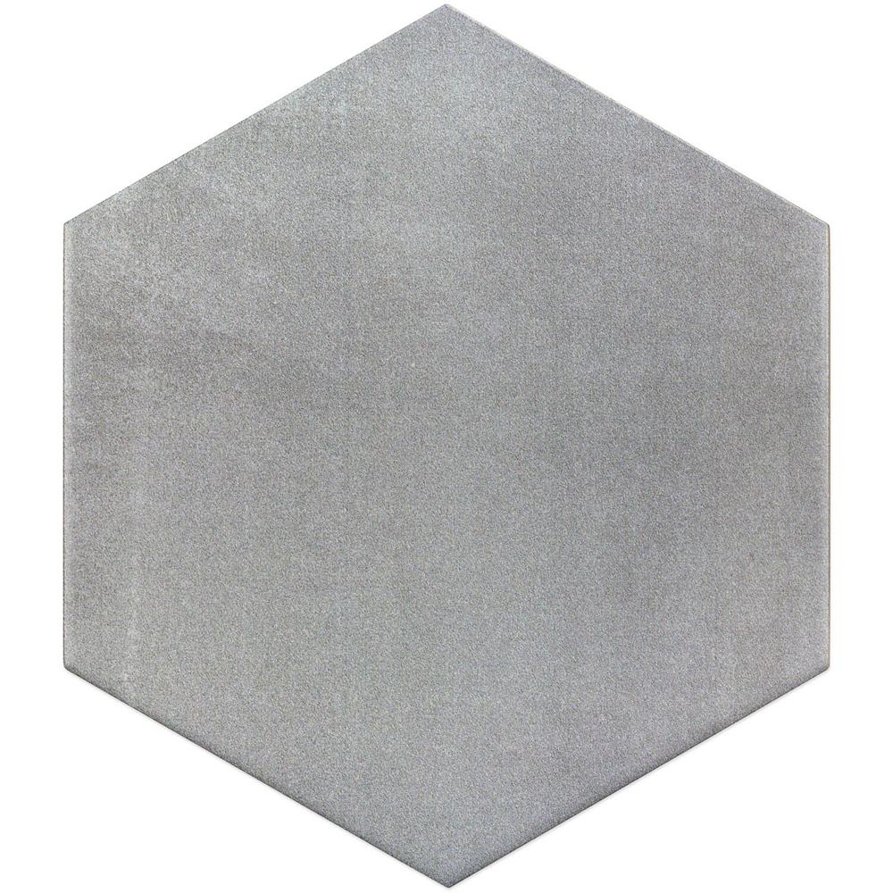 . Ivy Hill Tile Hexagon Gray 9 875 in  x 11 375 in  x 10mm Matte Porcelain  Floor and Wall Tile  18 pieces   10 76 sq  ft    box