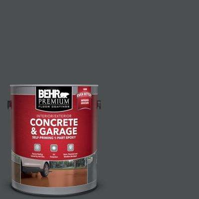 1 gal. #N460-7 Space Black Self-Priming 1-Part Epoxy Satin Interior/Exterior Concrete and Garage Floor Paint