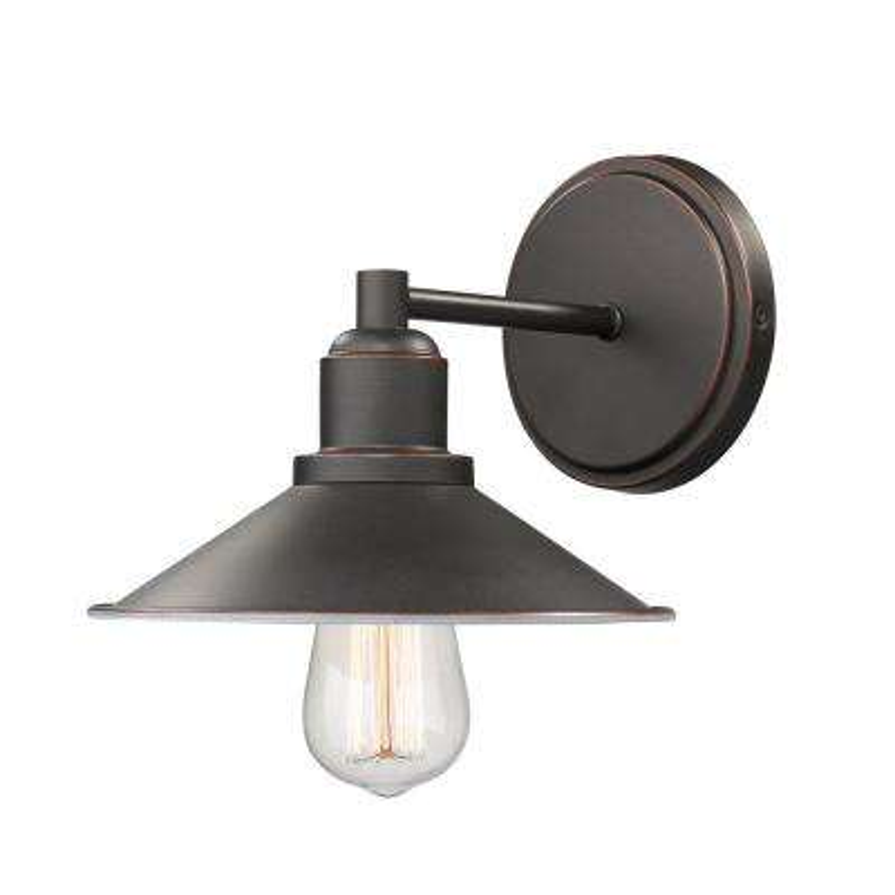 Cortez 1-Light Olde Bronze Bath Light with Olde Bronze Steel Shade
