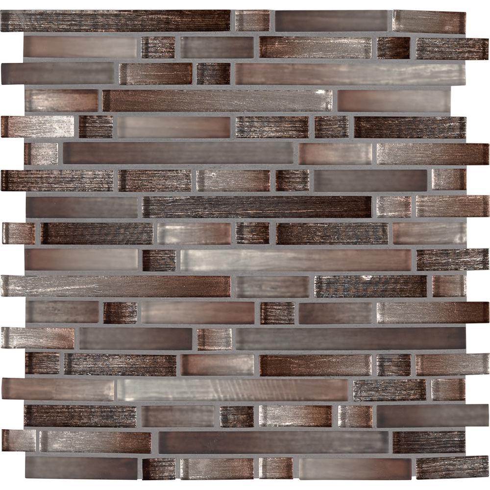 Akaya Copper Interlocking 12 in. x 11.75 in. x 8mm Glass Mesh-Mounted Mosaic Tile (9.8 sq. ft. / case)