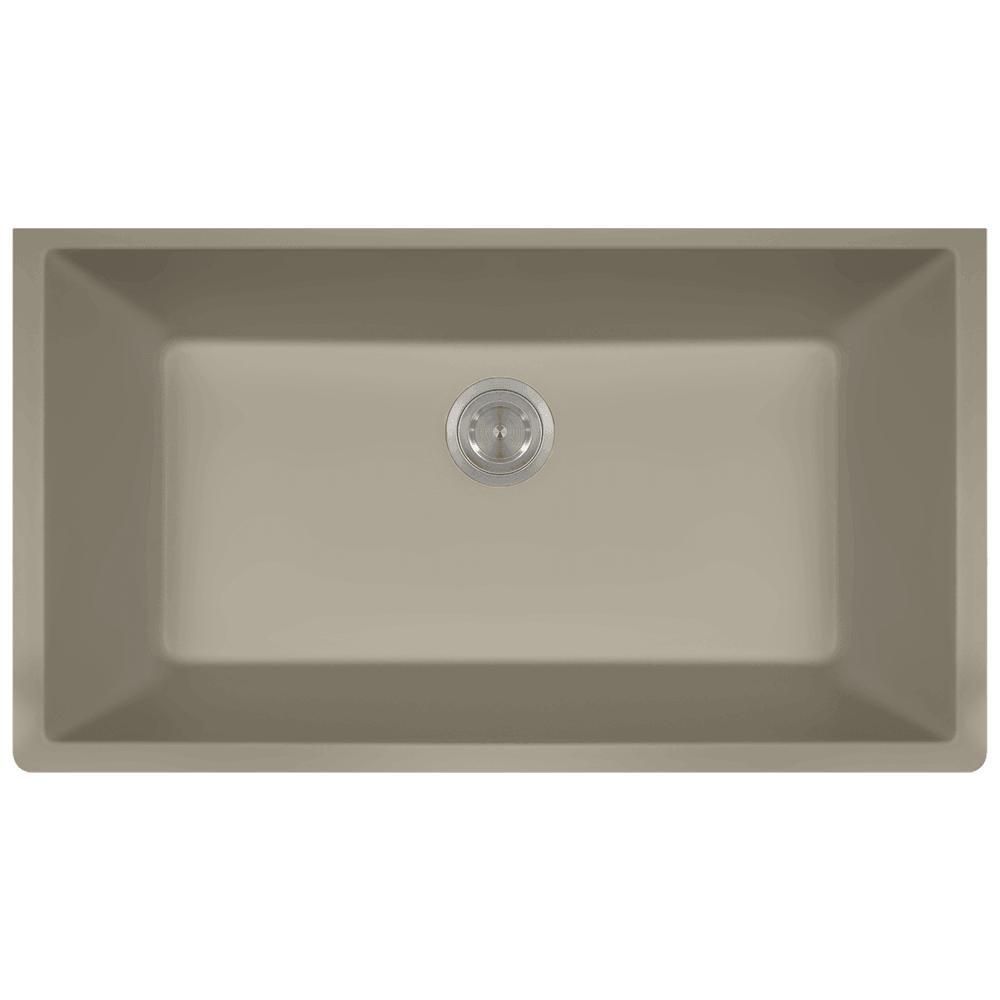 Gentil This Review Is From:Undermount Quartz 32.625 In. 0 Hole Single Bowl Kitchen  Sink In Slate