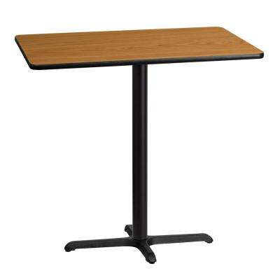 30 in. x 42 in. Rectangular Black and Natural Laminate Table Top with 22 in. x 30 in. Bar Height Table Base