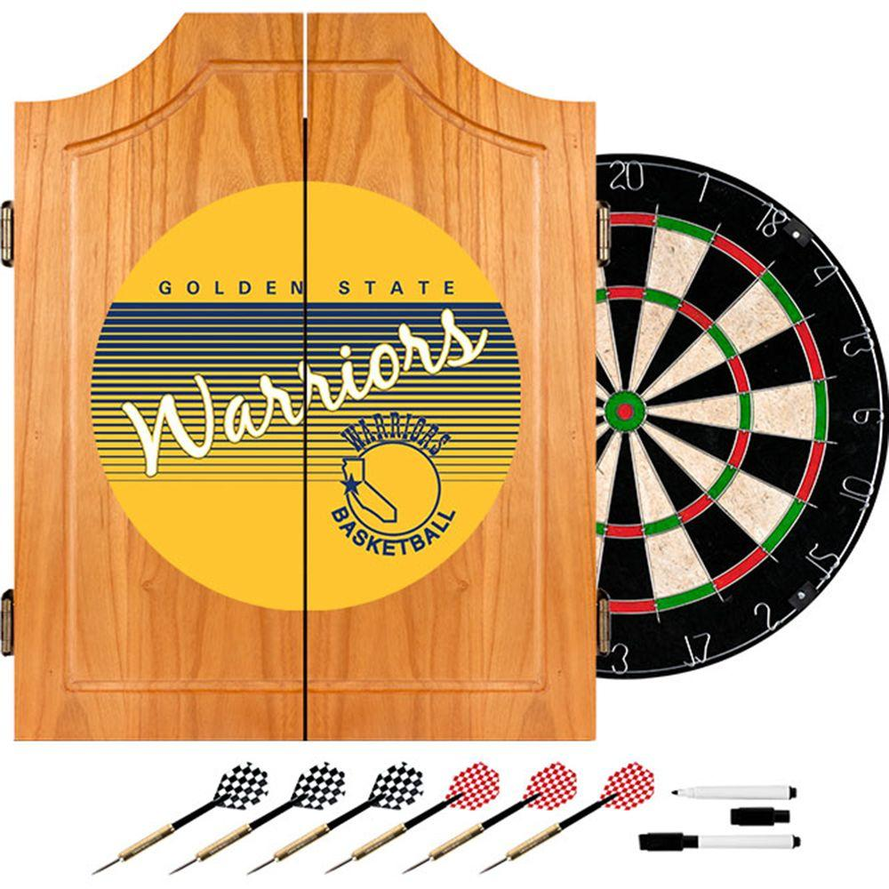 Trademark 20.5 in. Golden State Warrior Hardwood Classics NBA Wood Dart Cabinet Set