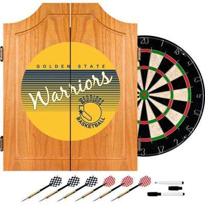 20.5 in. Golden State Warrior Hardwood Classics NBA Wood Dart Cabinet Set