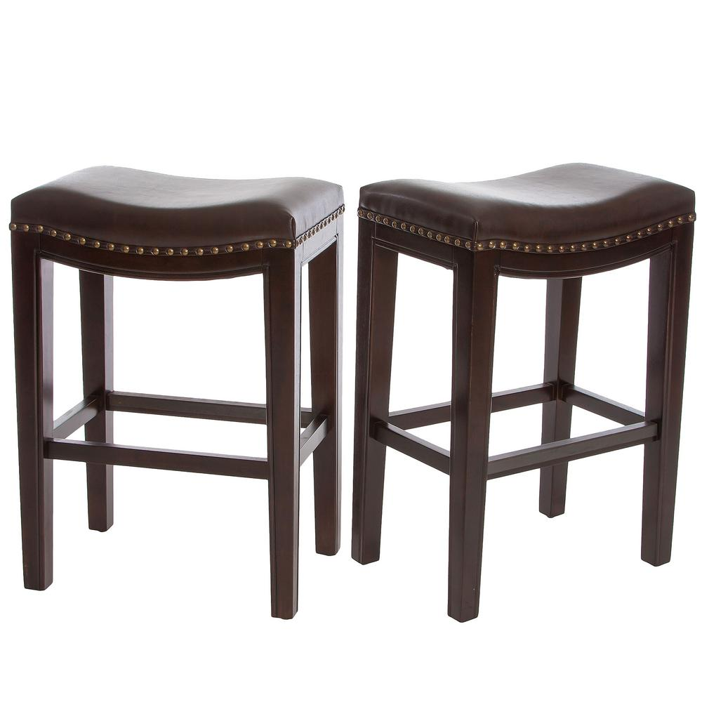 Avondale 26 in. Brown Cushioned Counter stool (Set of 2)