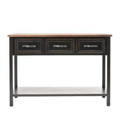 Michael 43 in. Black/Oak Standard Rectangle Wood Console Table with Drawers