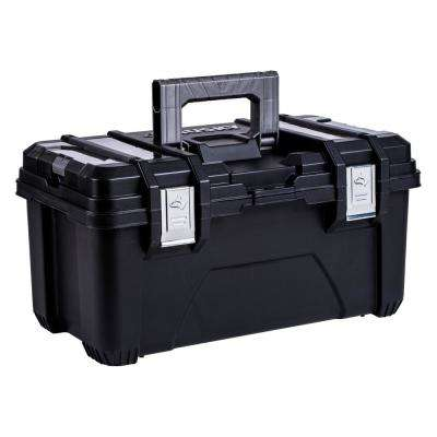 22 in. Plastic Portable Tool Box with Metal Latches in Black