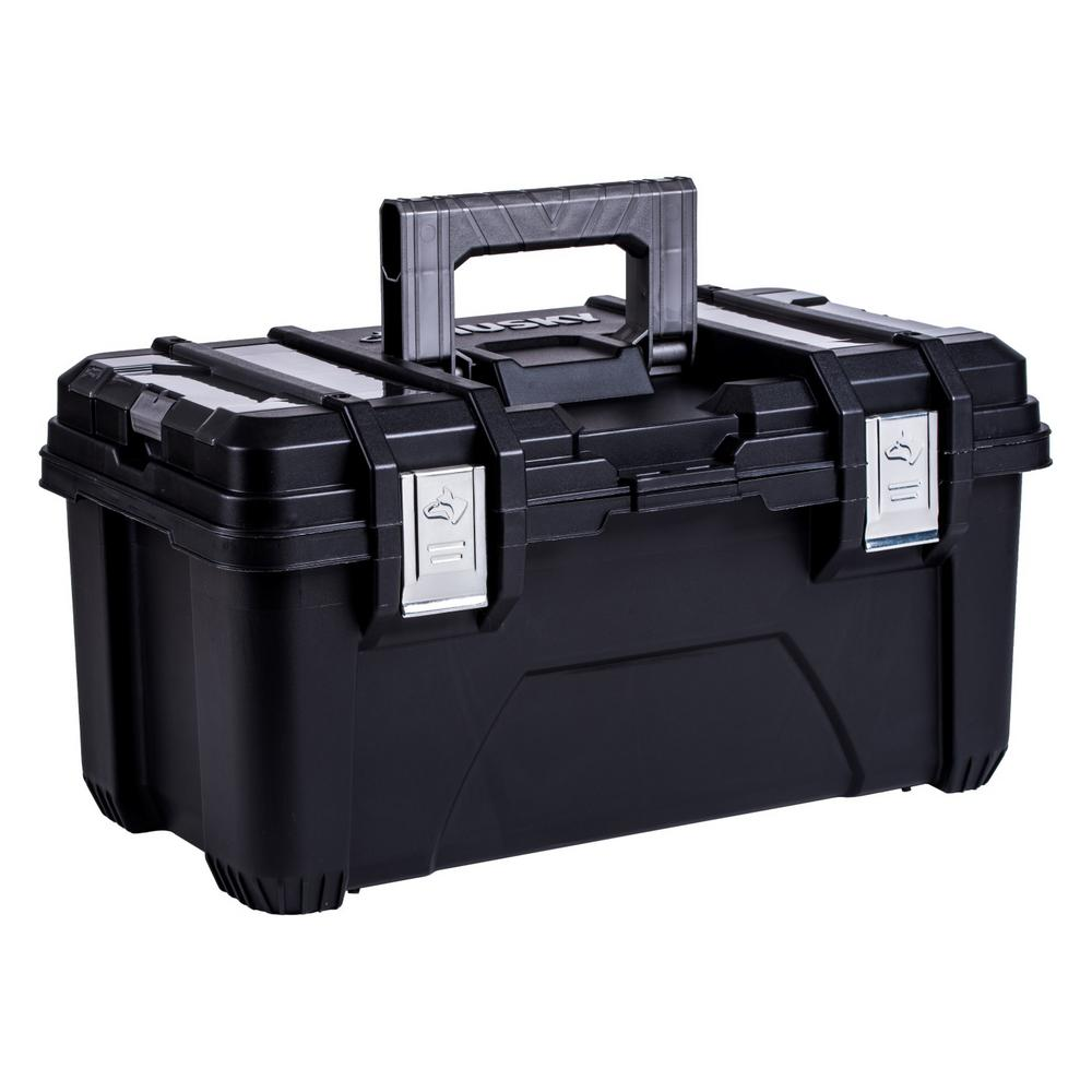 22 in. Plastic Tool Box with Metal Latches in Black