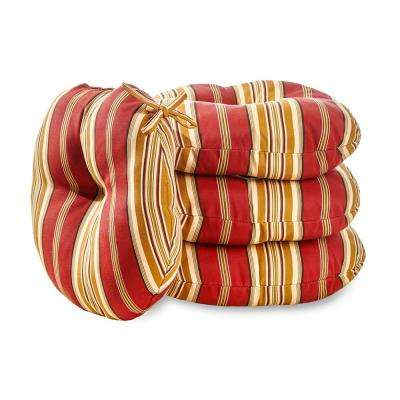 Roma Stripe 15 in. Round Outdoor Seat Cushion (4-Pack)