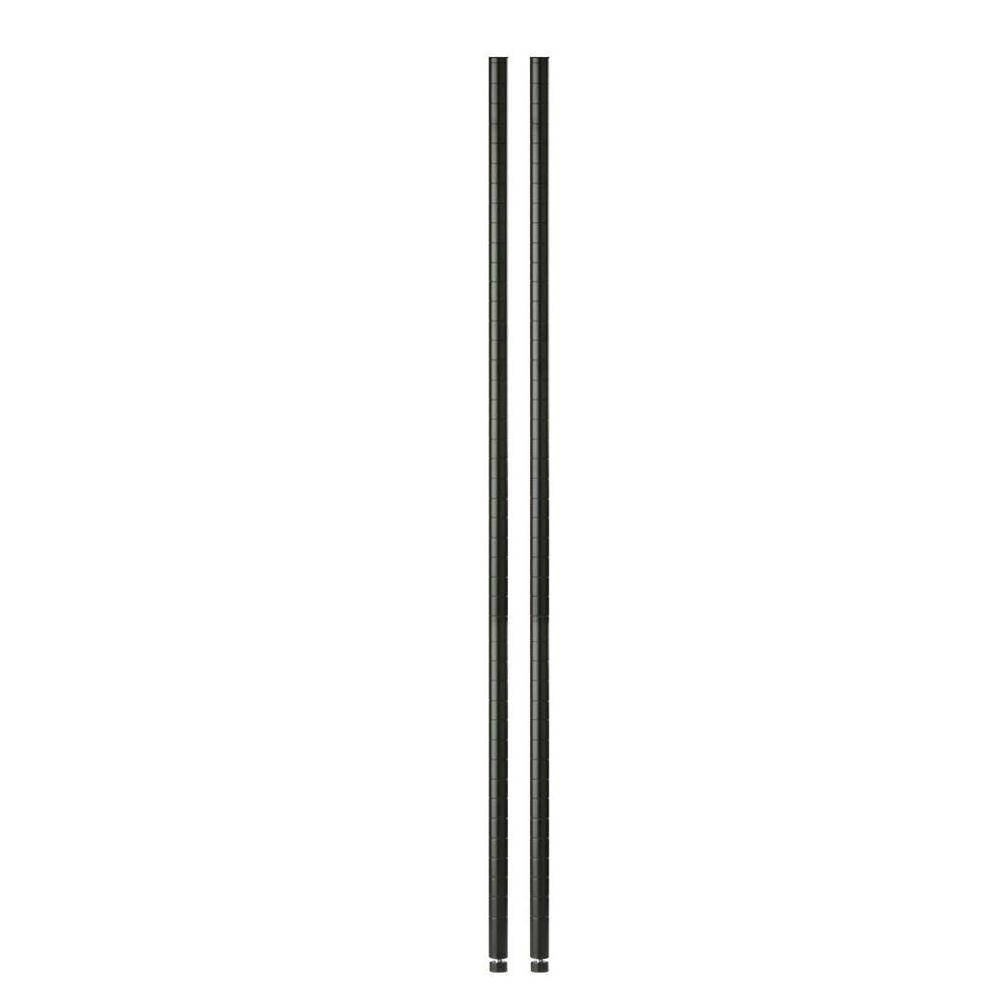 Honey-Can-Do 72 in. H Steel Urban Shelving Poles in Black (2-Pack)