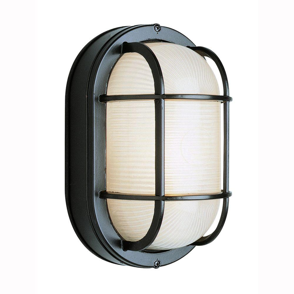 Bel Air Lighting Bulkhead 1 Light Outdoor Black Wall Or Ceiling Fixture With Frosted Gl