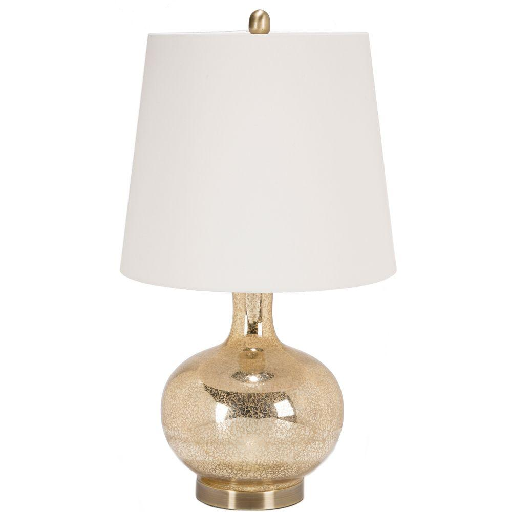 Octave 16 in. Goldtone Mercury Speckle Indoor Table Lamp