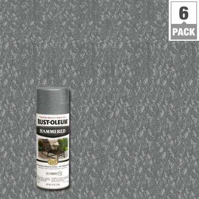 12 oz. Protective Enamel Hammered Gray Spray Paint (6-Pack)