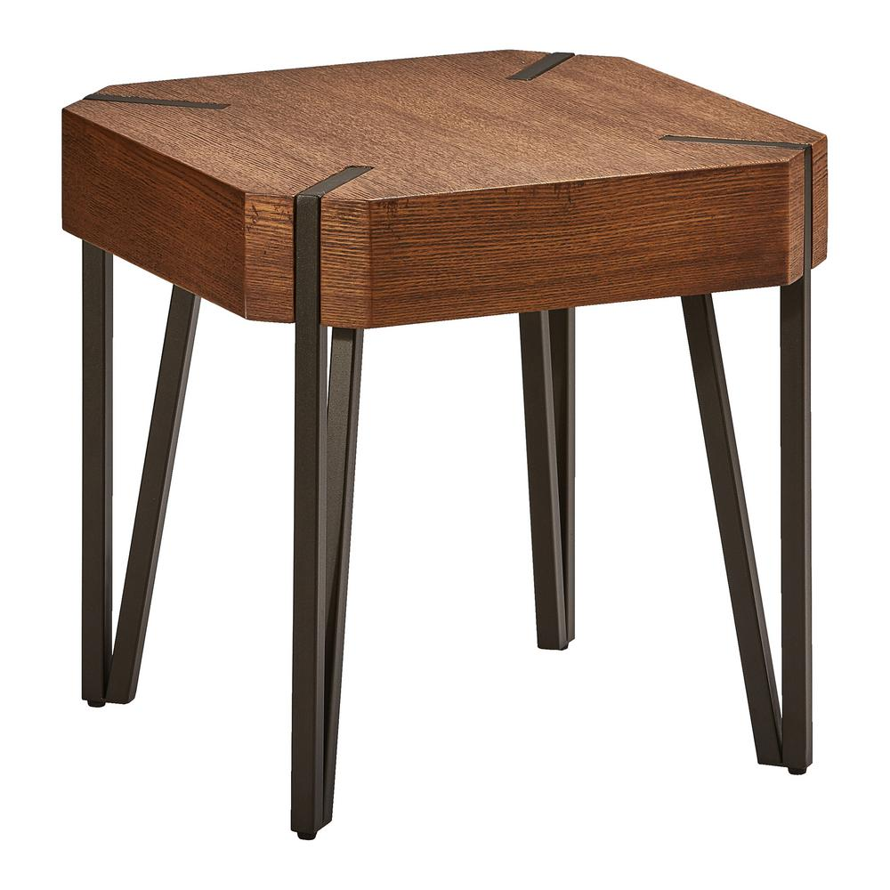 Null Hamburg Contemporary Oak Veneer And Black Metal End Table