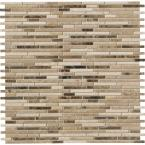 Emperador Blend Bamboo 12 in. x 12 in. x 10mm Brown Honed Marble Mesh-Mounted Mosaic Tile (10 sq. ft. / case)