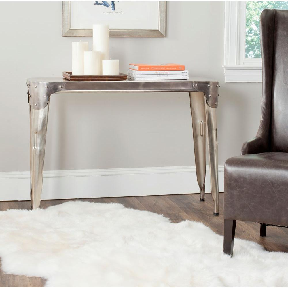 Safavieh dark antique silver console table fox7206a the home depot geotapseo Image collections