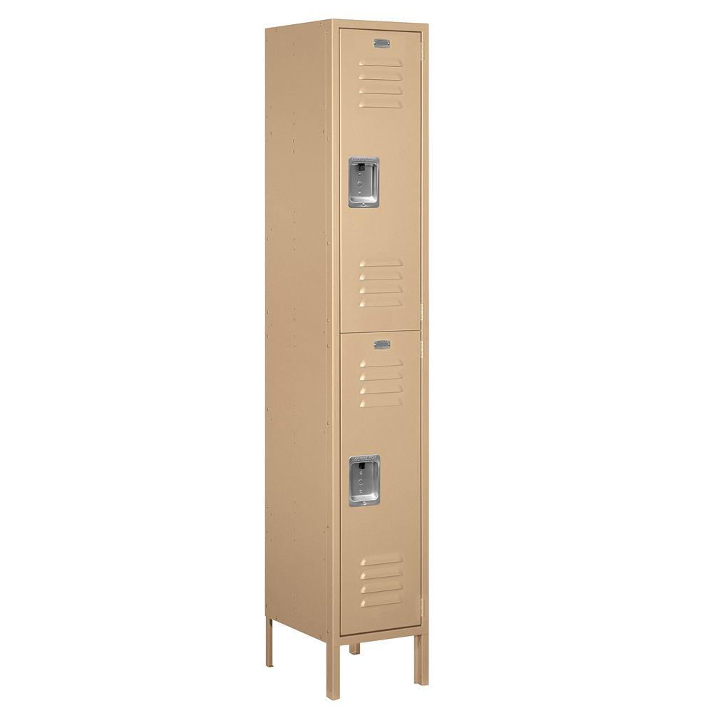 Salsbury Industries 52000 Series 15 in. W x 78 in. H x 15 in. D Double Tier Extra Wide Metal Locker Unassembled in Tan